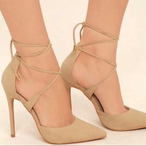 Lulu's Nude Suede Lace-up Heels